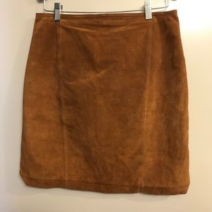 Brandon Thomas | Brown 100% Leather Suede Skirt